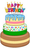 Three Floors Happy Birthday Cake With Candles Royalty Free Stock Image