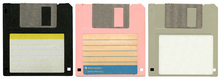 Three floppy discs Stock Photo