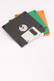 Three floppy disks on white background. Copy space below for text. Stock Photos