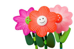 Three Floppy Wooden Flower Toys Stock Photos