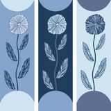 Three floral banners with blue flowers Royalty Free Stock Images