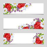 Three floral banners. Flower vector background brochure template Royalty Free Stock Images