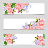 Three floral banners. Flower vector background brochure template Royalty Free Stock Photo