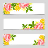 Three floral banners. Flower vector background brochure template Stock Photos