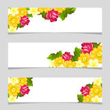 Three floral banners. Flower vector background brochure template Royalty Free Stock Photos