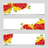 Three floral banners. Flower vector background brochure template Stock Photography