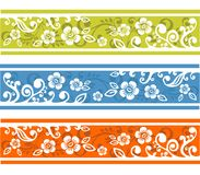 Three Floral Strips Stock Photo