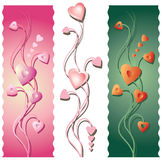 Three Floral Valentine's Borders Royalty Free Stock Photos