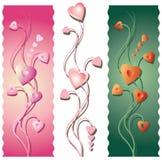 Three Floral Valentine's Borders Royalty Free Stock Photos