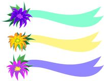 Three Flower Banners Royalty Free Stock Image