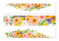 Three flower banners with drop shadows Royalty Free Stock Image