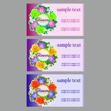 Three flower business cards, name cards, coupon Stock Photography