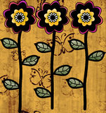 Three flower ornament with background. Painted printers ornament with three stylized flowers, and a gold butterfly background Royalty Free Stock Images