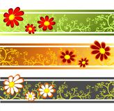 Three flower strips royalty free stock images