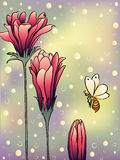 Three flowers and bee greeting card Stock Photography