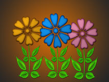 Three flowers. On brown background Royalty Free Stock Images