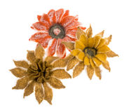 Three flowers from felted wool Stock Photo