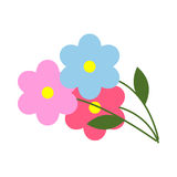 Three Flowers with Green Leaves in Cartoon Style. Three flowers with green leaves in flat style on white background. Garden colorful plants with yellow center Stock Images