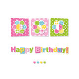 Three flowers happy birthday card Royalty Free Stock Image