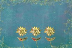 Three flowers illustration. Illustrated drawing of three daisy-shaped flowers on a green and yellow grunge background with copy space Royalty Free Stock Photo