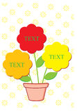 Three flowers for text inside a pot. With small organized flowers pattern as background vector illustration