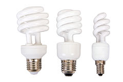 Three fluorescent light bulb Royalty Free Stock Photo