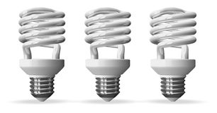 Three fluorescent light bulbs  Royalty Free Stock Images