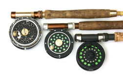 Three fly reels Royalty Free Stock Image