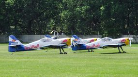 The Flying Bulls Aerobatics Team Zlin-50LX preparing for taxiing for take-off. Three of The Flying Bulls Aerobatics Team Zlin-50LX. Aerobatic aircraft prepare Royalty Free Stock Image