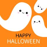 Three flying ghost spirit set. Happy Halloween. Scary white ghosts family. Cute cartoon spooky character. Smiling face. Orange bac. Kground. Greeting card Stock Image
