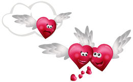 Three Flying Hearts Stock Photo