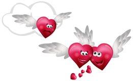 Three Flying Hearts Stock Photo