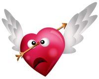 Three Flying HeartsFlying Heart Shot with an Arrow Stock Photos