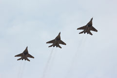 Three flying russian jet fighter MIG-29 Stock Photography