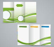 Three fold brochure template, corporate flyer or cover design in green colors Stock Photos