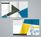 Three fold business brochure template, corporate flyer or cover design Royalty Free Stock Photos