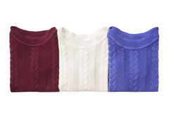 Three folded sweaters Royalty Free Stock Photography