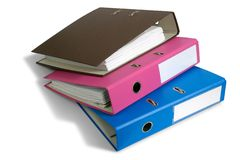 Three folders Stock Photos