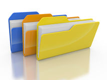 Three folders and files Stock Photos