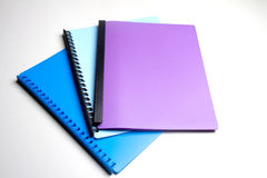 Three Folders. A group of 3 coloured display folders Stock Photography