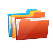 Three folders with paper Stock Photos