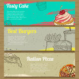 Three Food Banners for Advertising. Vector Stock Photo