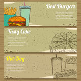 Three Food Banners for Advertising. Stock Photos