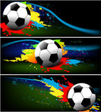 Three football banners Stock Photo