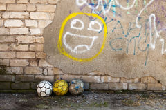 Balls and graffiti Royalty Free Stock Image