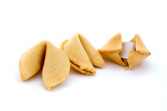 Three fortune cookies over white Stock Photo
