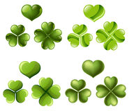 Three and four leaf clover set Stock Images