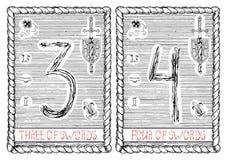 Three and four of swords. The tarot card. Royalty Free Stock Photos