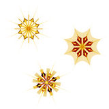Three fractal stars on white. Three stars on white background (combinable at will Stock Images