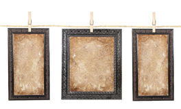 Three frames with aged paper on a line Royalty Free Stock Photo